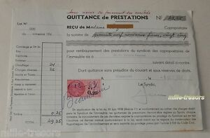 QUITTANCE-de-PRESTATIONS-du-1er-octobre-1962-TIMBRE-Fiscal-de-0-25-NF