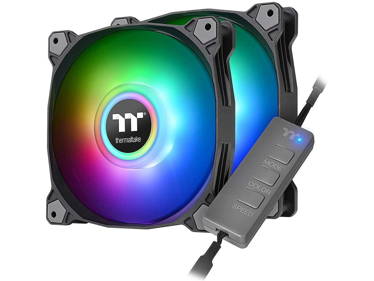 Thermaltake Pure Duo 120mm 16.8 Million RGB Color 5V ARGB Motherboard Sync 2 Lig