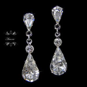 AAA-Swarovski-Crystal-Elements-Tear-Drop-Earrings-Clear-Silver-Wedding-Bridal