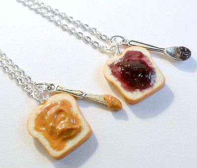 Peanut Butter Jelly Necklace Set, Best Friend's, Choice of Stainless Steel Chain