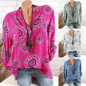 Womens-Plus-Size-Floral-V-Neck-T-Shirt-Long-Sleeve-Loose-Tops-Casual-Blouse-Boho