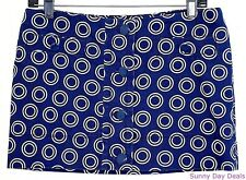 Juicy Couture Mini Skirt Cotton Circle Pattern A-Line Navy Blue White Jordan S