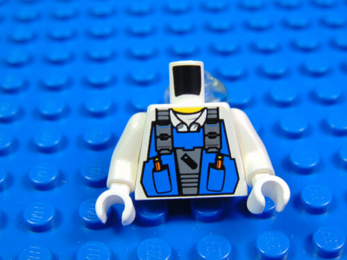 LEGO-MINIFIGURES X 1 WHITE TORSO POWER MINERS BLUE VEST OVER SHIRT WITH COLLAR