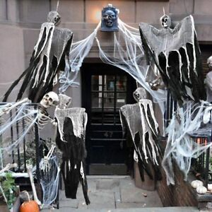 Skull-Halloween-Hanging-Ghost-Haunted-House-Grim-Reaper-Horror-Props-Decor-RX