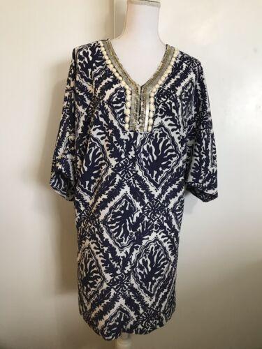LILLY PULITZER Wilda Tunic Kaftan Dress XS Blue Wh