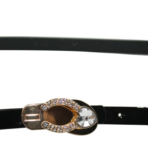 Womens PVC Waist Belt Skinny Shiny Black Belt Flip Flop Sandal Buckle for Girls