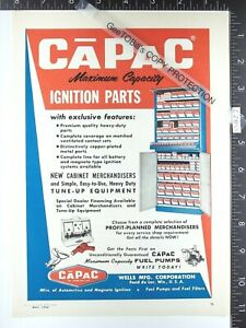 1962 ADVERTISEMENT CaPac ignition parts cabinet display gas service station Well