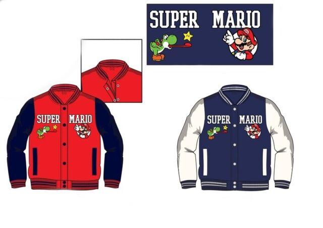 6b51786e57ff Boys Coat Super Mario Bros Kids Leather LOOK Jacket Official Varsity ...