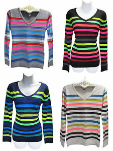 POOF-Made-With-Love-Multi-Color-Rainbow-Bright-Neon-Stripe-Knit-Sweater-New-NWT