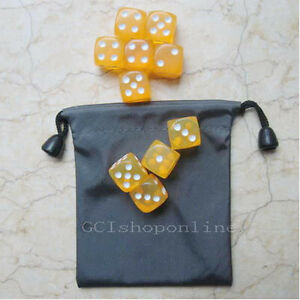 Lot-10-Yellow-6-Sided-D6-16mm-RPG-D-amp-D-D20-Game-Dice