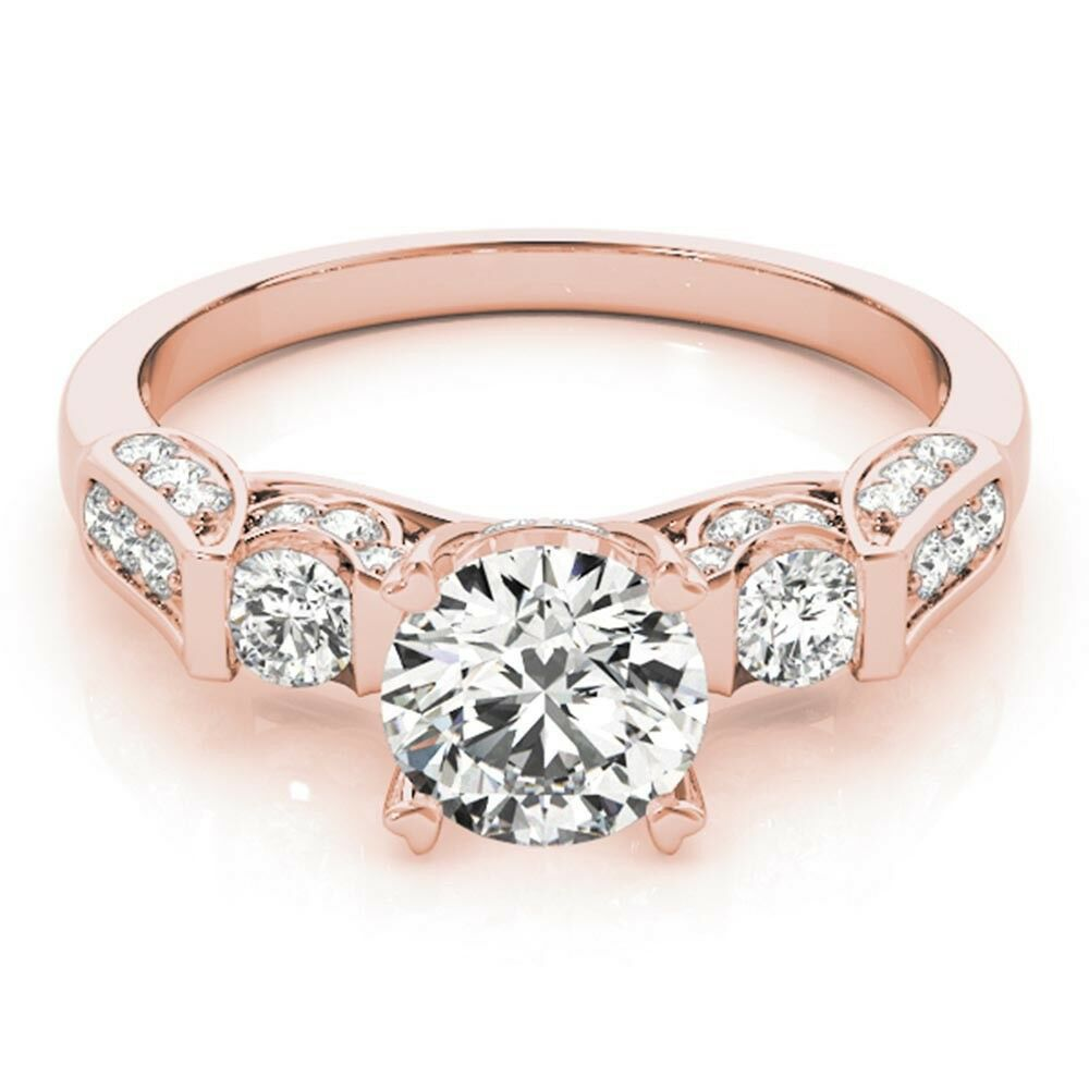1.43 Ct Diamond Engagement Ring Real Solid 14KT pink gold Size 8.25