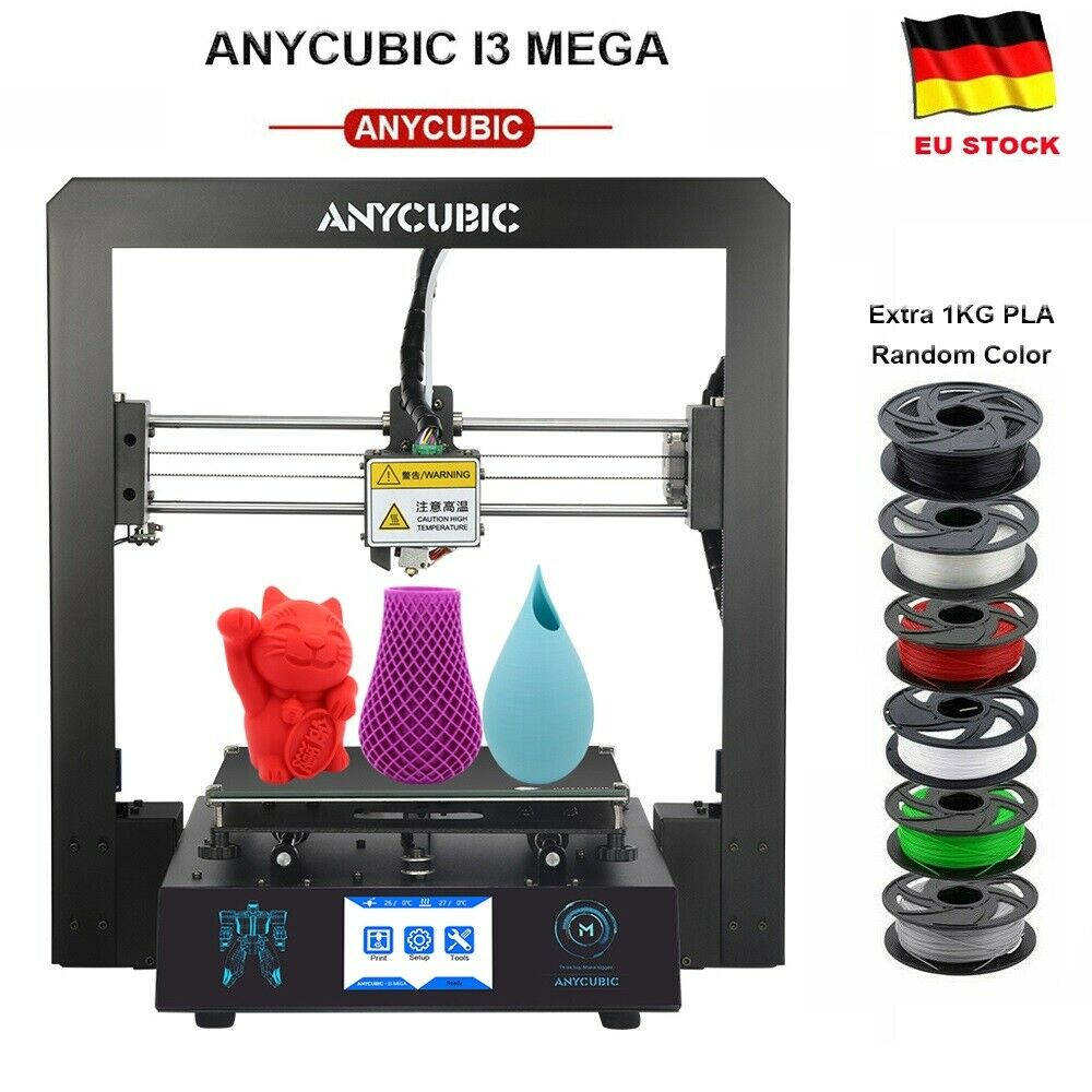 "EU ANYCUBIC Stampante 3D I3 Mega FDM Full Metal Ultrabase da 3,5 ""TFT + 2KG PLA"