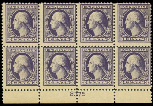 529, Plate Block of Eight With Misplaced Plate # Mint NH Cat $125+ Stuart Katz
