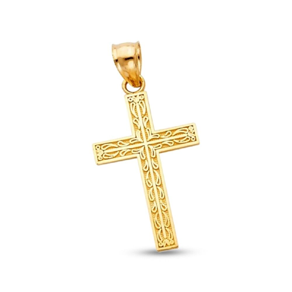 Solid 14k Yellow gold Cross Crucifix Pendant Religious Charm Classic Fancy