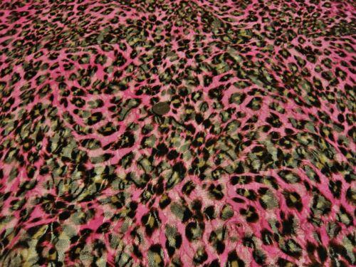 Impreso la piel de leopardo estiramiento Red Encaje-Pink//Negro//Marrón-Vestido Tela Libre P/&P