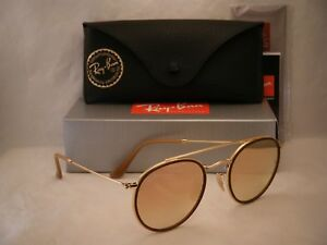 Ray Ban 3647N Round Double Bridge Gold w Pink Gradient Mirror ... 524e22dc2a