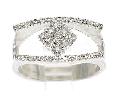 Enthusiastic Unique 14k Blanc Solide Or 0.40ctw Femmes Ouvert Diamant Bague W/centre Grappe Sale Price Jewelry & Watches
