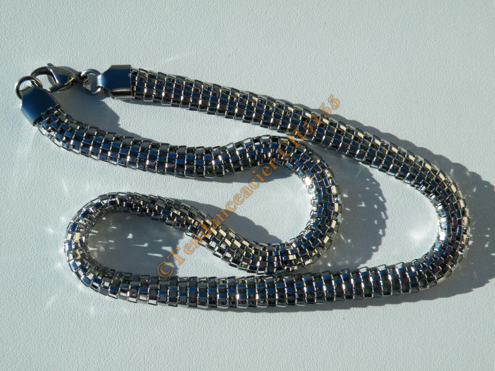 Chaine Collier 46 cm silveré Pur Acier Inoxydable Serpentine 8 mm 3 Dimensions