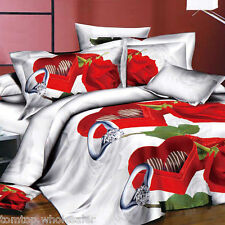 4pcs 3D Bedding Set Queen Size Duvet Cover+Bed Sheet+2 Pillowcases F9S8