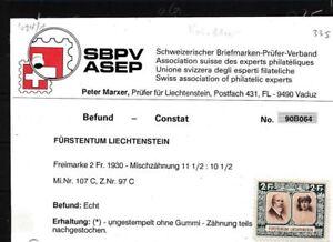 Liechtenstein-107C-geprueft-postfrisch-ohne-Gummi-Zaehnung-teils-nachgestochen-2