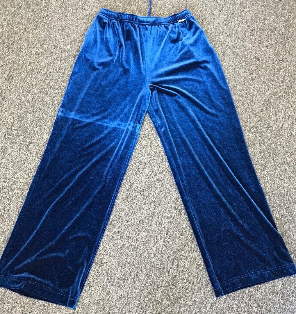ST. JOHN SPORT Pants bluee Velour Elastic Waist Size L DD1109