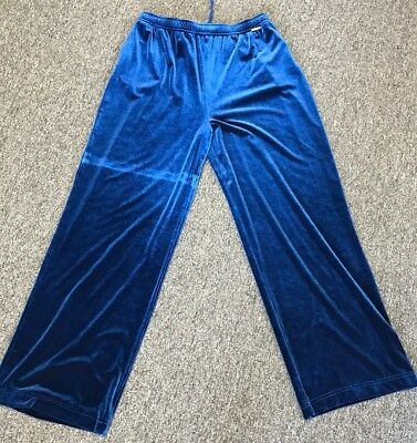 Activewear Bottoms St John Sport Pants Blue Velour Elastic Waist Size L Dd1109 Strengthening Waist And Sinews