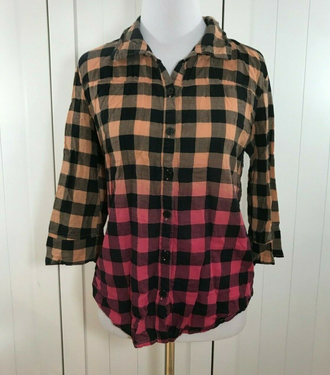 Self Esteem Orange Pink Black Plaid Checkerd Blouse Top Shirt Size Medium 10