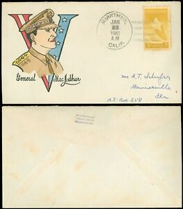 JAN-22-1951-McARTHUR-CALIF-Cds-HANDPAINTED-Cover-of-GENERAL-DOUGLAS-MacARTHUR