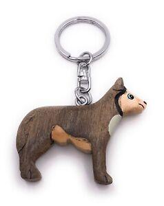 Husky-Perro-Perro-de-Trineo-Madera-Noble-Handmade-Llavero-Colgante