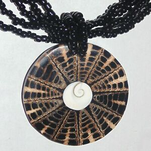 Vintage-seashell-mosaic-pendant-black-glass-beads-necklace-style-of-Lee-Sands