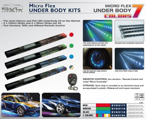 Remote Controled Sumex Micro Flex Under Body /& Behind Wheel LED Neon Light Kit