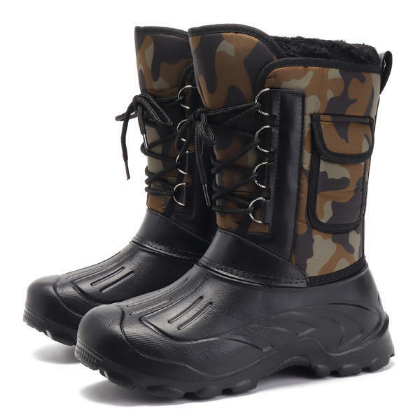 US Größe 8-11 Men Schuhes Camo Hunting Lining Stiefel Waterproof Faux Fur Lining Hunting Rubber Toe 11b8c1