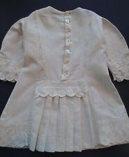 Vintage Edwardian Childrens Clothes Dress Herringbone Cotton Embroidered Trim