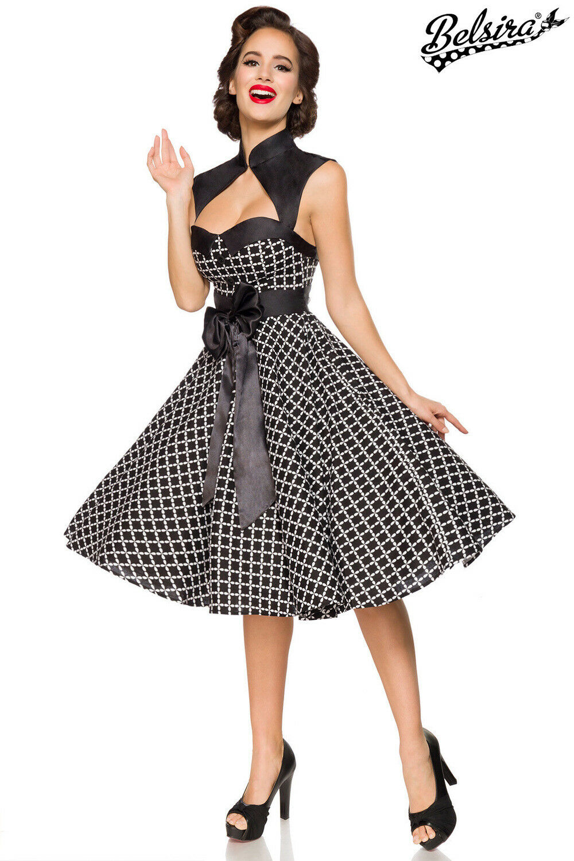 Belsira Damen Vintage-Kleid mt Bolero im Retro Look