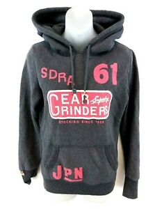SUPERDRY-Womens-Hoodie-Jumper-S-Small-Grey-Cotton-amp-Polyester