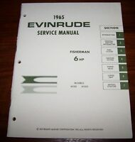 Vintage 1965 Evinrude Service Manual 6 Hp Brand Mint