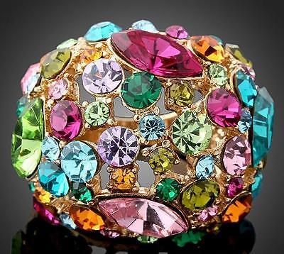 18KGP gold plated Fashion Beautiful ring use Swarovski Elements Crystal WJR01