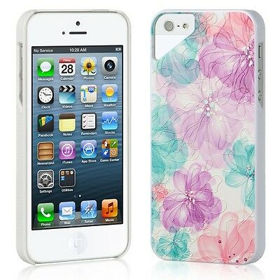 Seemless Flower Pink Red Purple Hard 3D UV Case Cover for Apple iPhone 5 5SE
