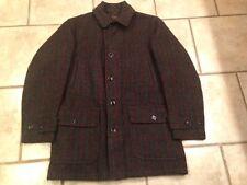 Vintage LL Bean Script Label Heavy Wool Hunting Coat Jacket Game Pouch Birding