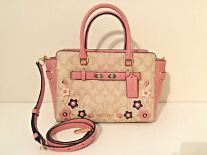 New coach blake carryall 25 in signature canvas with floral applique