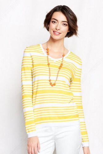 LANDS/' END PL Bright Sun Stripe Fine Gauge Supima V-Neck Sweater NWT $59
