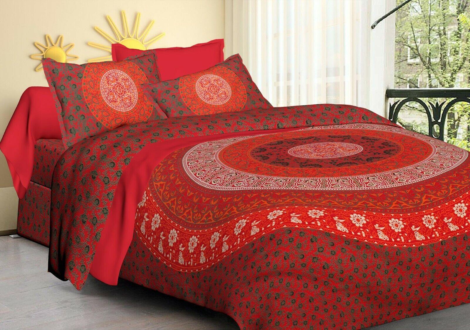 Indian Red Multi color Floral mandala Tapestry King Bedding Bedspread Dorm Decor