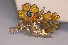 Big Vintage Gripoix Pate de Verre Poured Glass & Rhinestone Flower Brooch Pin