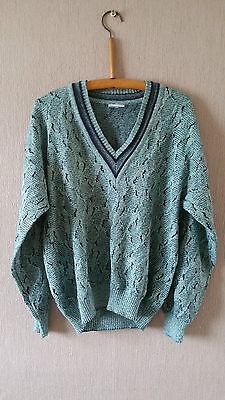 """Vintage Mens Knitwear V Neck Jumper Light Blue w/ Dark Pattern -Size Large 42"""""""