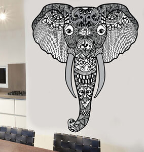 Indian Mandala Patterned Elephant Design Wall Sticker Ethnic Decal ...