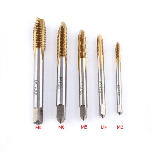 5pcs M3 M4 M5 M6 M8 HSS Titanium Thread Screw Metric Plug Tap Spiral Hand Kit