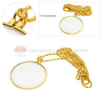 3x Gold Plated Magnifying Glass Lens Necklace Magnifier 36 Chain Jewelry Hobby