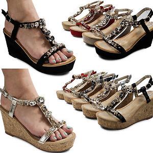 damen sandalen sandaletten high heels keilabsatz glitzer. Black Bedroom Furniture Sets. Home Design Ideas