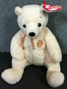 Ty Beanie Babies Popcorn Bear OCT 2003, Beanie of the Month, New PE Pellets
