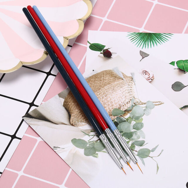 3x ultra-thin line nail art liner brush drawing painting penmanicure diy tool TB